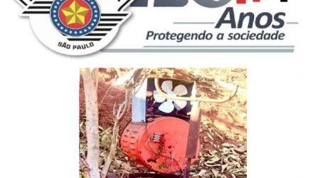 Máquina de solta furtada do Clube de Tiro foi recuperada pela PM. Foto: DIVULGAÇÃO/PM