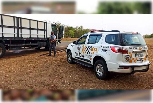 Caminhão foi parado na Rodovia Washington Luis em Catiguá — Foto: Divulgação/TOR