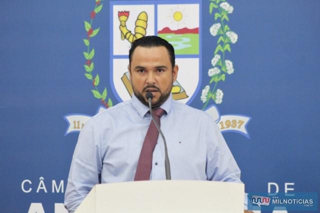 """O Atual presidente do Poder Legislativo de Andradina, Helton Rodrigo Prando, o popular """"Coxinha"""". Foto: Assessoria Legislativa"""