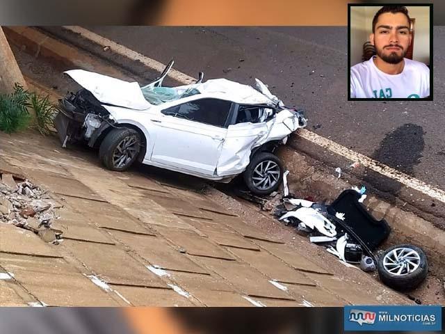 Rapaz despencou com veículo de cima do viaduto de acesso ao patrimônio de Andradina, distante 6 Km. Foto: MANOEL MESSIAS/Agência