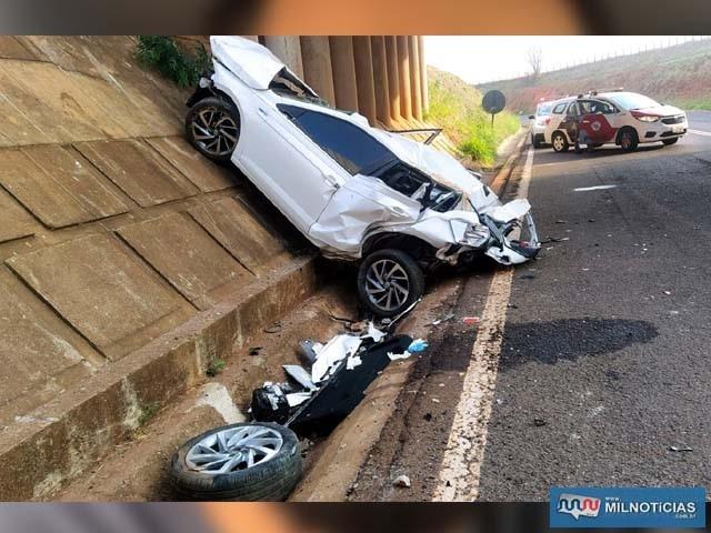 Polo parou no parapeito de cimento da parte debaixo do viaduto do trevo de Paranápolis. Foto: MANOEL MESSIAS/Agência
