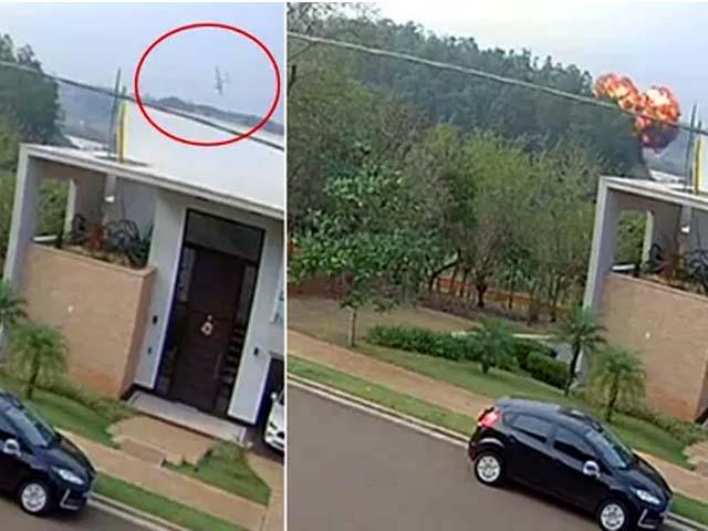 Vídeo de câmera de segurança mostra momento da queda do avião que resultou na morte de 7 pessoas. Foto: DIVULGAÇÃO