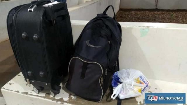 Bolsas que o preso utilizava em sua viagem para comprar a droga no Mato Grosso do Sul. Foto: MANOEL MESSIAS/Agência
