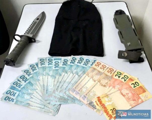 Os R$ 1.710,00 levados dos primos idosos foi recuperado pela PM e devolvidos à vítima. Foto: PM/Divulgação